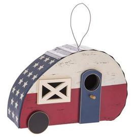 Do you have a beautiful garden that needs a little life put into it? Birdhouses are a great way to enhance your garden because they attract nesting birds. This birdhouse is cleverly disguised as a camper and features a bird entrance hole on the door of the camper. In Beautiful Red, White, and Blue.