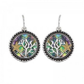 Coral Fan Abalone Starfish Earrings