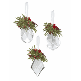 """A vibrant red cardinal adorns this faceted crystal. Christmas ornament. Add an elegant touch to your Christmas tree and packages with beautiful decoration as you celebrate the most beautiful time of the year. Dimensions: 4"""" H. Three different shapes of cystals. First : flat tear drop, Second : pointed like a triangle. Third and final : rounded.  Price is for one of the three listed designs."""