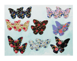 "A variety of floral and chintz designs on assorted metal butterfly magnets add spring whimsy to your fridge or memo board. About 3"" wide."