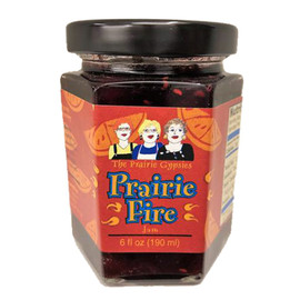 Prairie Fire jam was made to salute the state of Oklahoma Centennial. A delightful blend of five berries and jalapeno peppers. Use it to make sauces, glaze meats or bake in a dessert bar. Of course, delicious over cream cheese.
