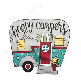 """Have a bright and welcoming """"Happy Camper"""" sign for your front door to greet everyone coming your way!"""