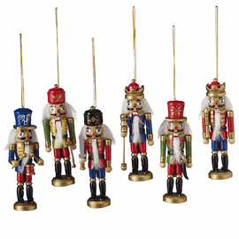 """Mini painted wooden nutcracker soldiers with working jaws and faux fur detail. Each is 1.5"""" L. x 1.125"""" W. x 4.875"""" H. Sold individually, let us choose for you"""