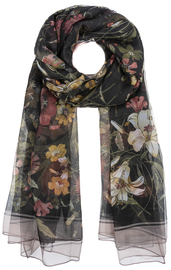 Botanical Vintage Look Scarf - Black
