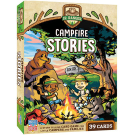 Campfire stories - a great storytelling card game for campers with kids. Imaginative story play teaches creative story-building, listening and comprehension, memory, and narrative skills. 39 colorfully illustrated cards.