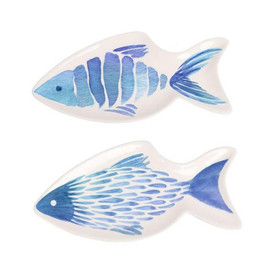 """Fish Shaped Plate Add seaside charm to any tabletop with this beautiful fish shaped plate! Ceramic plate features fish shaped design with watercolor artwork.  Sold individually.  Dimensions: 10"""""""