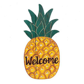 "Welcome guests to your home with this unique pineapple wall decor! Wood welcome sign features a hand carved pineapple design. Measures: 27""H"