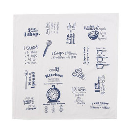 """Use these flour sacks as a kitchen tool! Featuring common measurement equivalents & conversions for easy substitution! Mangle pressed for maximum absorbency, so we call them """"Krinkled!"""" 26 in x 26 in, 100% cotton."""