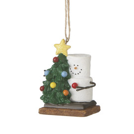 Collectible Marshmallow S'more ornament holds Christmas tree! Seasonally available collectible.