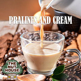 <p><span>Pralines &amp; Cream flavored coffee beans: a creamy, sweet and nutty flavor.</span></p>