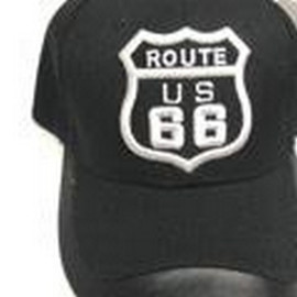 Route 66 Black Cap With Leather Trim