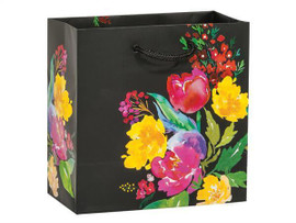 Watercolor Garden Blooms Gift Bags, Jewel 6.5x3.5x6.5 These gloss laminated bags are made of deluxe heavy weight paper with matching cord handles.
