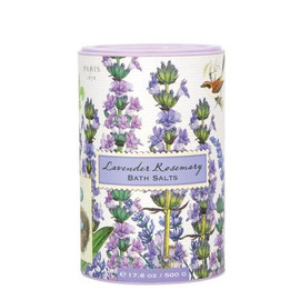 """Pamper yourself! Sprinkle our natural sea salt Bath Salts into a tub of warm running water, or mix some with olive oil for a whole-body scrub. The """"salt shakers"""" are decorative, fun, and functional. Scented with the unmistakable fragrance of lavender with rosemary and a hint of eucalyptus"""