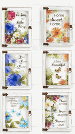 Wood framed glass plaques with floral and butterfly decor are perfect gifts for Mother's Day!