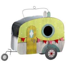 """Red pennant flags decorate this functional wood birdhouse. Features a large 1 3/4 inch hole and a door in back for claening access. Painted white with bright spring green and yellow accents. Metal roof trim. Usable space is about 9"""" W x 6"""" H x 5"""" D"""