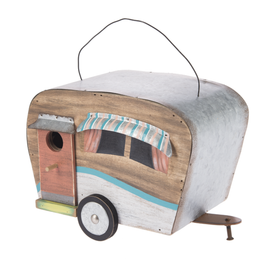 """Functional wooden birdhouse with metal roof, awnings, and  accents looks adorable hanging on your porch, in your garden room, or under your RV canopy. Hand painted details with coastal flair and colors: pink, turquoise, white and yellow. The 1"""" opening should entice birds like chickadees, nuthatches, titmice, and bluebirds."""