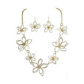 Shiny Gold Three Dimensional Wire Flowers Necklace Set