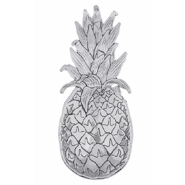 """Pineapple Everything Spoons can be used as a teabag holder, or as a small decorative scoop. They have beautiful detailing and are great to keep on hand for hostess gifts. It can be used to measure 1 tablespoon. Made of Sturdy Zinc Dimensions: 2 1/4"""" W. x 4 1/2"""" L."""