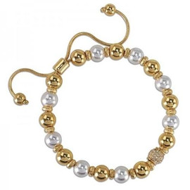 Gold and Silver Balls Pull String Bracelet