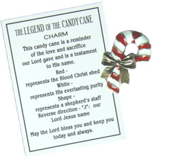 The legend of the candy cane charm and message card.