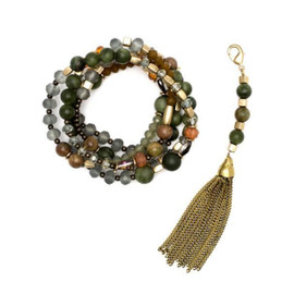 Convertible Tassel Necklace Gold Green
