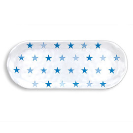 Blue Stars Oblong Melamine Accent Tray