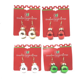 Glass ornament earrings in red, silver, green, gold