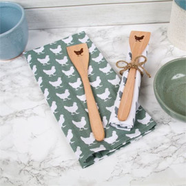Everyone seems to love roosters in the kitchen, but let's not forget the humble and hard-working hen! This adorable spoon set is decorative and fully functional! Gift set includes farmhouse flour sack dishtowel and wooden spoon with engraved chicken. A useful hostess or housewarming gift, or stocking stuffer.