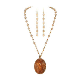Shiny Gold Bead Chain With Large Natural Druzy Agate Crystal Pendant Long Necklace Set with Bead Chain Wire Earring