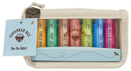 Multiple flavors and scents of the famous hydrating beeswax lip balm in this handy travel bag! Never bee without your favorite again. Savannah Bee.
