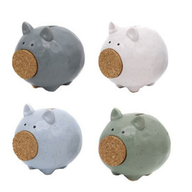 "This adorable farmhouse styled piggy bank will help you save your spare change! Ceramic piggy bank features speckled glaze finish and cork nose. 5"" x 5"""