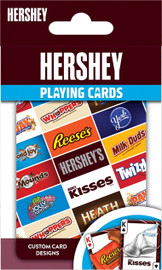 These Hershey playing cards are the perfect deck for any candy fan! Each standard deck contains 52 cards and 2 jokers. Card-back designs feature the HERSHEY logo. All face cards and jokers have photographs of Hershey's sweetest candy treats. Officially licensed and approved Hershey playing cards.