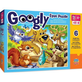 This MasterPieces 48pc Farm Friends Googly Eyes Puzzles are a great way to have even more fun with puzzles! These are the perfect puzzles for children ages 6 and up. Complete with 8 pre-mounted, factory-secured wiggly and googly eyes. Your children are sure to be entertained for hours!