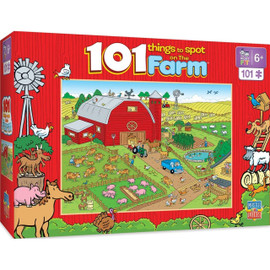 "Let the search begin with this MasterPieces 14"" x 19"" 101pc 101 Things to Spot on a Farm Puzzle. There are 101 things to spot in these woods. Can you find all of them? Good luck!"