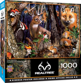 A deer, fox, chipmunk, woodpecker family and more gather together in this Forest Gathering 1000 PC Puzzle by MasterPieces from the RealTree collection.