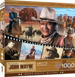 This MasterPieces 1000 PC Legends of the Silver Screen Puzzle features legendary scenes from John Wayne's 50+ year career in Hollywood.