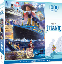 Piece together the tragic history of the ill-fated ocean liner with evocative art by Steven Crisp. Titanic Collage 1000 PC Puzzle