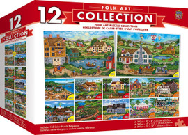 12-Pack Folk Puzzle Bundle features beautiful folk art scenes, painted by talented folk artist, Bonnie White.