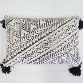 Block Print Pillow with Tassels