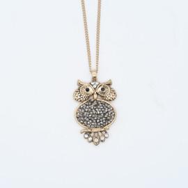Bronze Hematite Owl Pendant