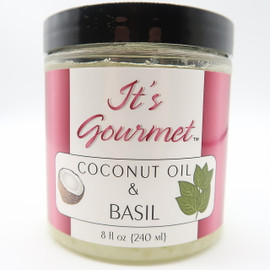 Gourmet Basil Flavor Infused Coconut Oil is Certified organic and non GMO. Contains only extra-virgin coconut oil and basil. Delicious with lemon, tomato, onion, chicken, pasta, eggs, zucchini, pizza, and more. Blends well with parsley, lemon grass, chili, oregano, rosemary, and coriander.