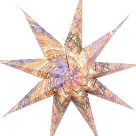 Hanging paper star mobile encloses a single bulb.