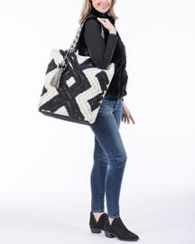 Katydid Collection Black and Cream Rope Tote With Tassel