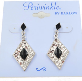 Periwinkle black and silver onyx diamond shaped earrings fish hook