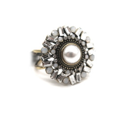 Pearl Medallion Ring by Laura Janelle