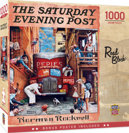 Saturday Evening Post - Road Block 1000 Piece Jigsaw Puzzle by Norman Rockwell