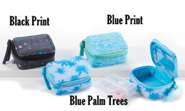 Stylish, compact and discreet zippered case will keep your vitamins, medications and supplements safe when you are on the go. One extra hinged compartment. Choose from one of three designs, black print, blue print, or blue palm trees.