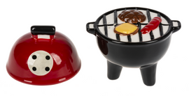 """Nobody else will have these unusual BBQ Salt & Pepper Shakers! Cute on the summer or picnic table. Dimensions: 41/2"""" H. x 31/2"""" W. x 27/8"""" D."""