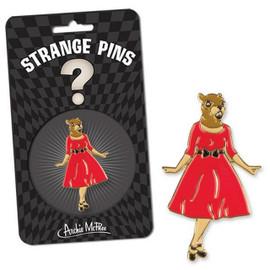 Squirrel in red dress pin Strange Pins