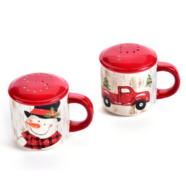 Mug Salt and Pepper shakers with truck and snowman painted design and red top